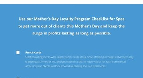 Mother's Day Checklist for Spas