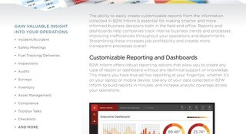 B2W Inform Reporting and Dashboards