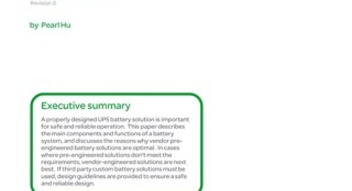 WP 207 Design and Specification for Safe and Reliable Battery Systems for Large UPS