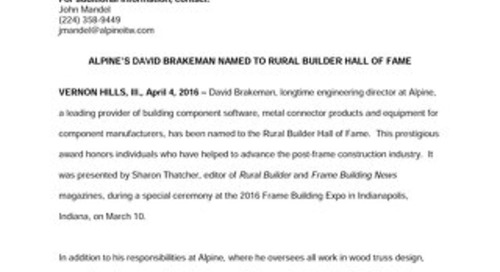 David Brakeman Hall of Fame News Release April 4, 2016