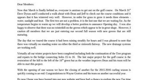 President' s Letter ~ April 5th