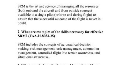 """Single-Pilot Resource Management """"SRM"""" Check Ride"""