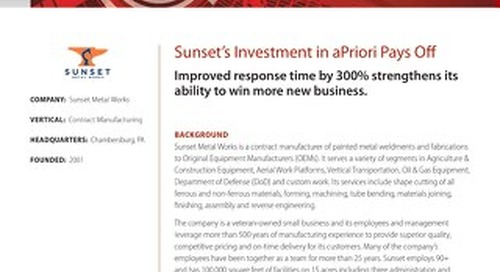 Sunset's Investment in aPriori Pays Off