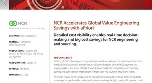 NCR Accelerates Global Value Engineering Savings with aPriori