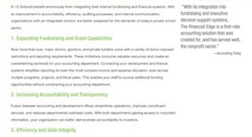 The Raiser's Edge and The Financial Edge Integration Datasheet