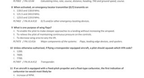 Private Pilot Airplane Sample Exam with ACS Codes - June 15, 2015