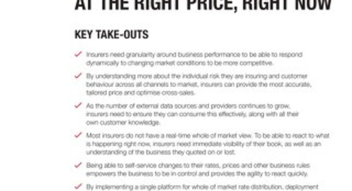Writing the right business at the right price, right now