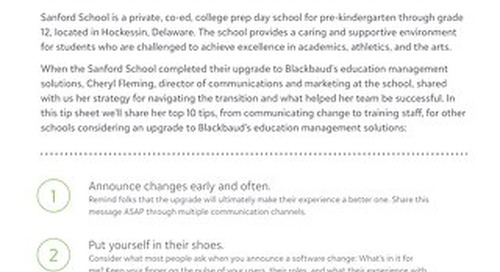 """Straight from the Sanford School: 10 Tips for Upgrading to Blackbaud's education management solutions (formerly the """"ON"""" Products)"""