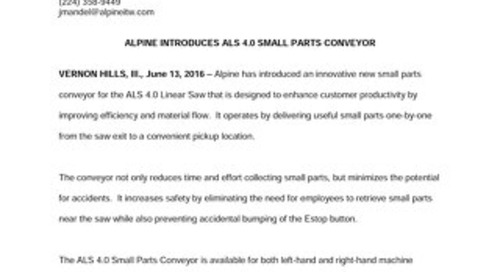 ALS 4.0 Small Parts Conveyor News Release 6-13-16