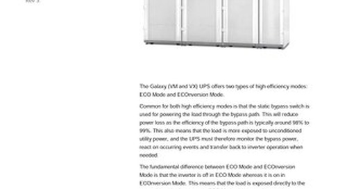 Application Note - Galaxy High Efficiency Modes