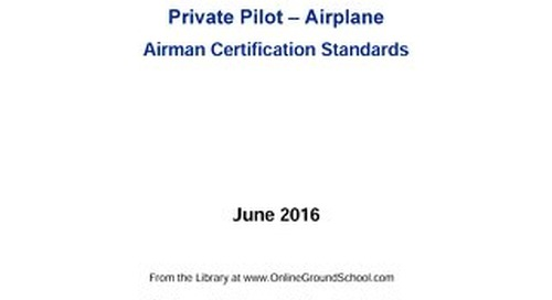 Private Pilot Airplane Airmen Certification Standards 6/16