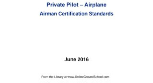 Private Pilot Airplane Airmen Certification Standards 6/16