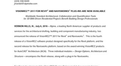 VisionREZ 2017 for Revit News Release 7-6-16