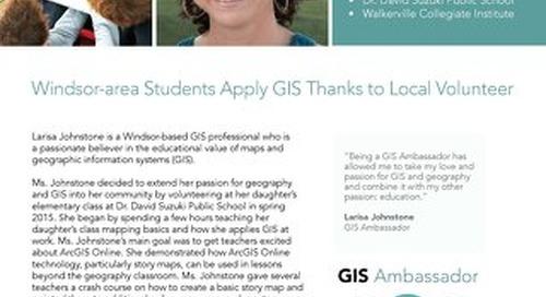 GIS Ambassador Profile: Larisa Johnstone