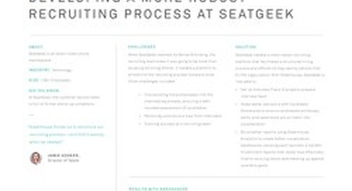 Developing a More Robust Recruiting Process at SeatGeek
