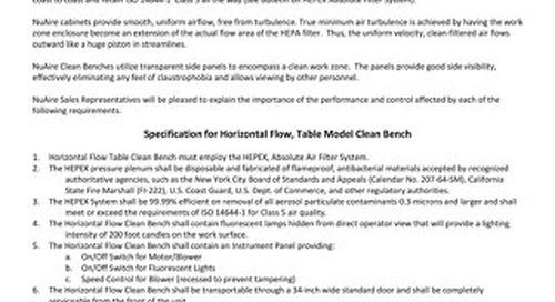 [Spec] AireGard Model NU-201 Laminar Airflow Workstation (LAFW) Purchase Specification