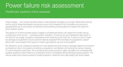 Power Failure Risk Assessment