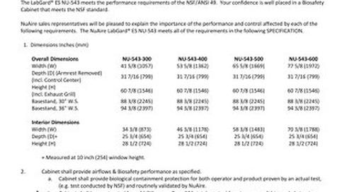 [Spec] LabGard AIR NU-543 Specification (115V)