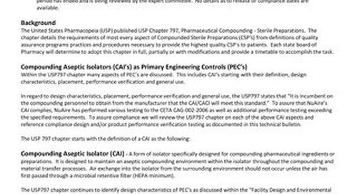 NU-PR797 Performance Evaluation Compliance to USP 797