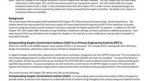 NU-NTE800 Performance Evaluation Compliance to USP 797 / USP 800