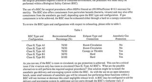 [Bulletin] Use of Anesthetic Gas Isoflurane within a Biosafety Cabinet