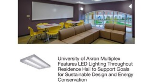 University of Akron Multiplex Features LED Lighting Throughout Residence Hall to Support Goals for Sustainable Design & Energy Conservation
