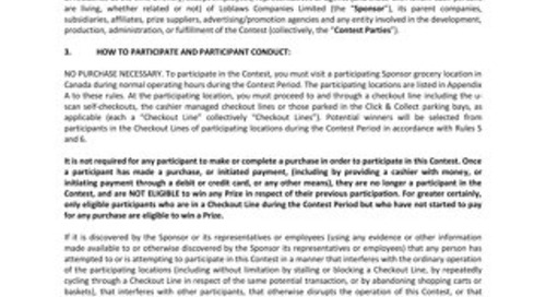 Loblaws-Grocery Line Contest Official Rules-Fall 2016
