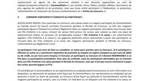 Loblaws-Grocery Line Contest Official Rules-Fall 2016-French