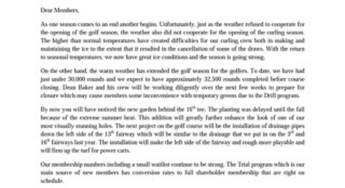 President's Letter ~ October 27 2016