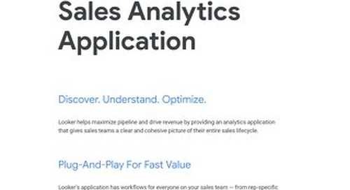 Looker's Application For Sales Analytics