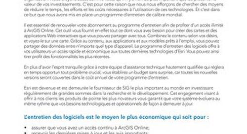 Programme d'entretien des logiciels d'Esri Canada