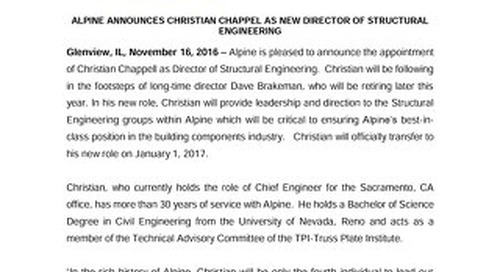 Christian Chappell News Release November 2016