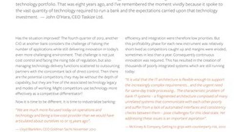 Industrializing Banking Technology