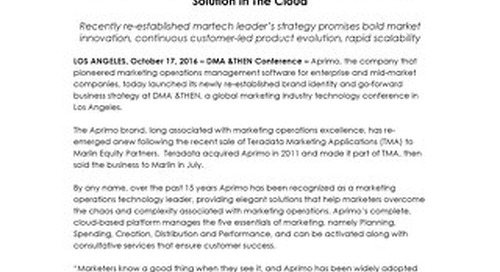 Aprimo Delivers Complete Global Marketing Operations Solution In The Cloud