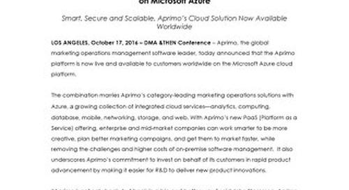 Aprimo Launches Marketing Operations Platform on Microsoft Azure