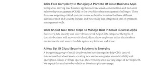 Forrester Cloud Security Report