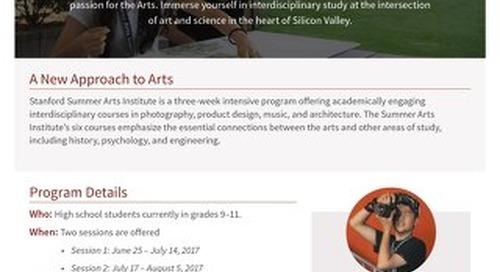 Stanford Summer Arts Institute Flyer 2017