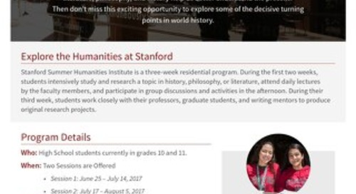 Stanford Summer Humanities Flyer 2017