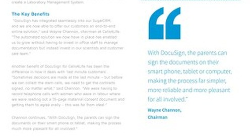 Cells4Life Helps Parents-to-Be Support Child's Health with DocuSign