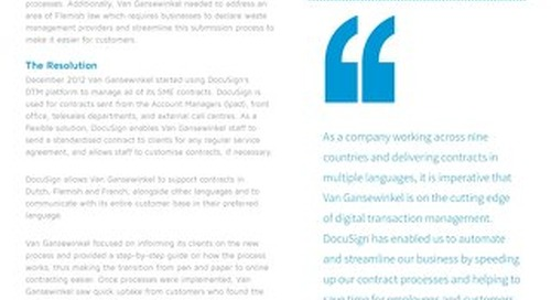 Van Gansewinkel Goes Digital with DocuSign