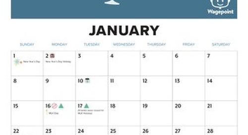 Wagepoint 2017 Calendar US