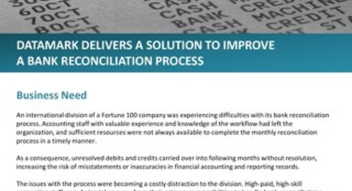 DATAMARK delivers a solution to improve a bank reconciliation process