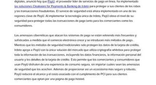 PayU implementa la solución Cloakware for Payments de Irdeto para proteger todas las transacciones de pago de los comerciantes y los consumi