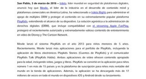 Movile selecciona a Irdeto para proteger la entrega de Video Premium en una popular plataforma PlayKids