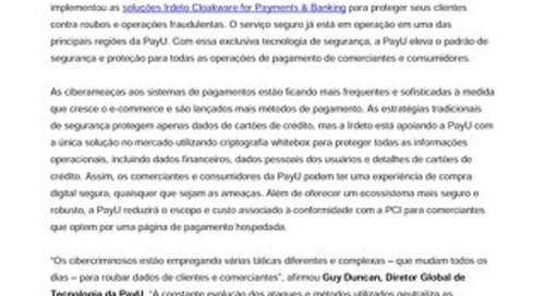 PayU implementa solução Irdeto Cloakware for Payments para proteger todas as operações de pagamento para comerciantes e consumidores