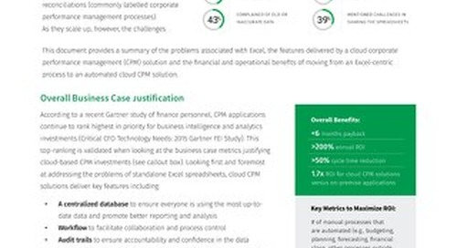 Business Case - Adopting CPM with Excel in the Cloud