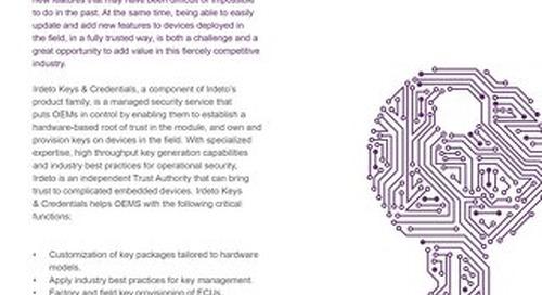 Datasheet: Irdeto  Keys & Credentials