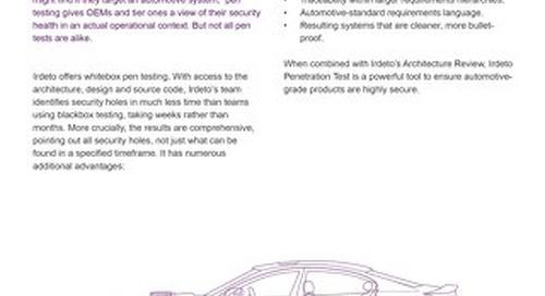Datasheet: Irdeto for Automotive - Penetration Test