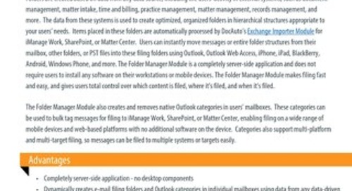 Datasheet: Folder Manager Module