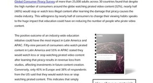 Nearly half of consumers around the globe are willing to stop or watch less pirated video content